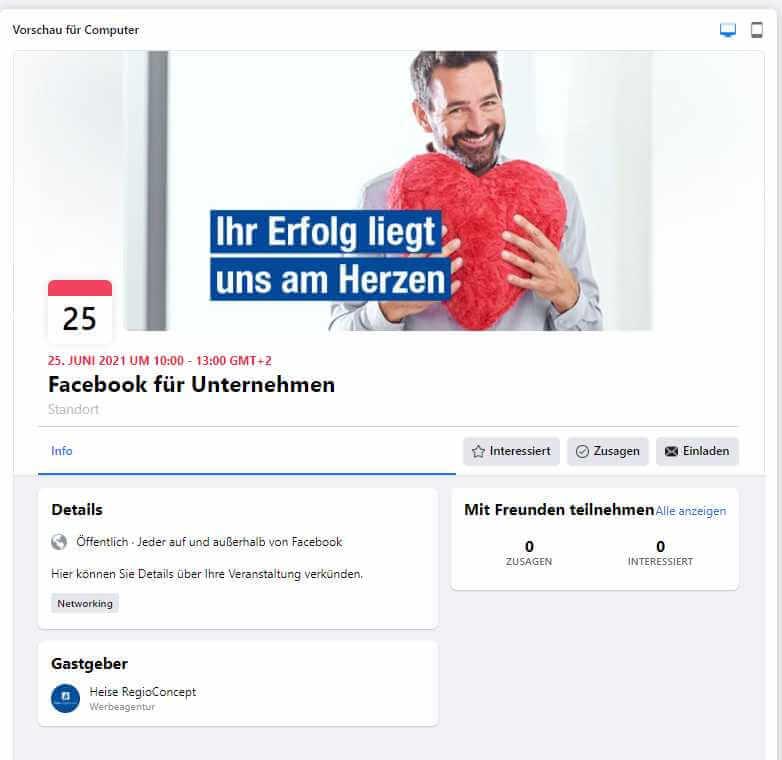 Beispiel für eine Veranstaltungsseite einer Facebook Unternehmensseite