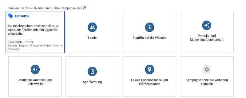 Kampagnentypen bei Google Werbung
