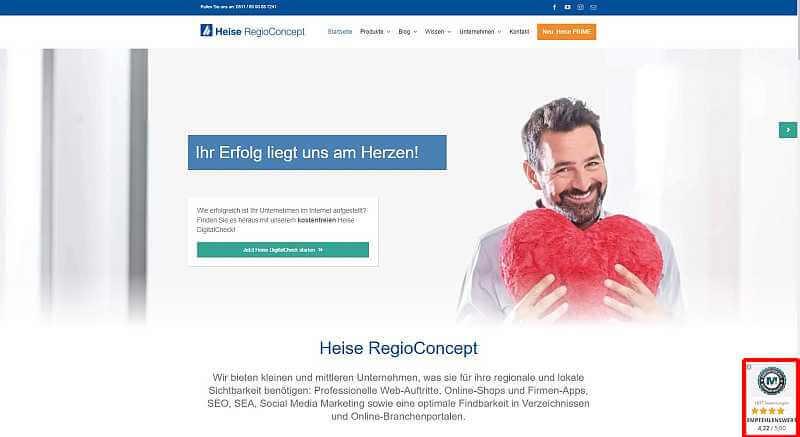 Bewertungswidget am Beispiel von Heise RegioConcept